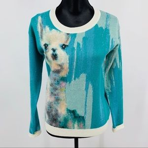 Anthropologie Limited Edition Blue Llama Sweater